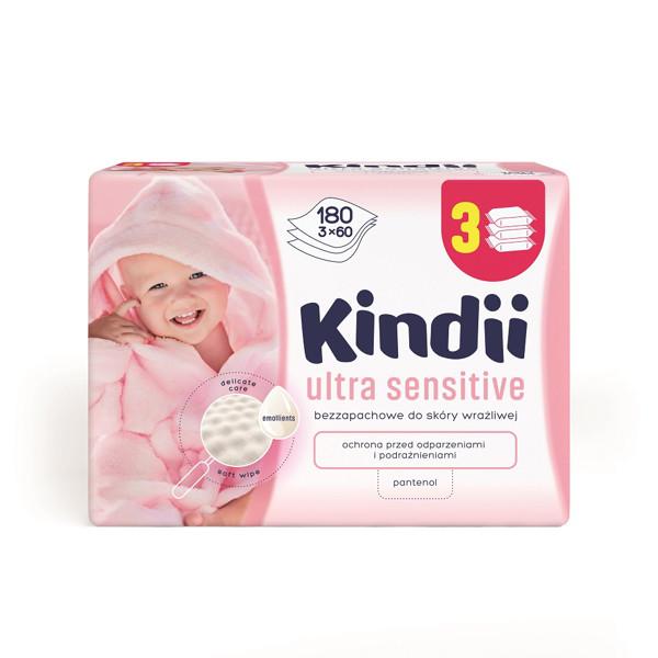 CLEANIC KINDII BABY SENSITIVE, servetėlės labai jautriai ir atopinei odai, 180 vnt. paveikslėlis