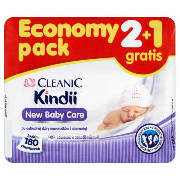 CLEANIC KINDII NEW BABY CARE, servetėlės jautriai naujagimių ir kūdikių odelei, 180 vnt. paveikslėlis