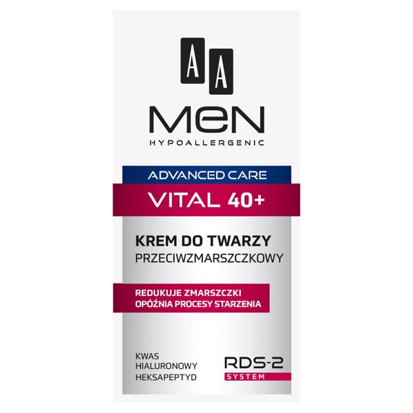 AA MEN HYPOALLERGENIC ADVANCED CARE VITAL 40+, veido kremas nuo raukšlių, 50 ml paveikslėlis