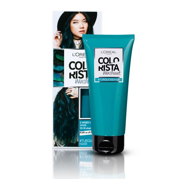 L'ORÉAL PARIS COLORISTA WASHOUT, nuplaunami plaukų dažai, 10 Vivid Turquoise Hair paveikslėlis