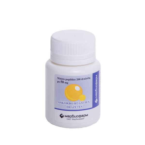 ASKORBO RŪGŠTIS, 50 mg, 200 dražečių paveikslėlis