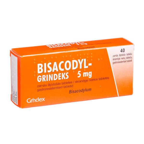 BISACODYL-GRINDEKS, 5 mg, skrandyje neirios tabletės, N40  paveikslėlis