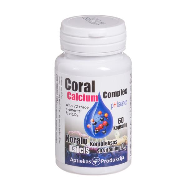 CORAL CALCIUM COMPLEX SU VITAMINU D3, 500 mg, 60 kapsulių paveikslėlis