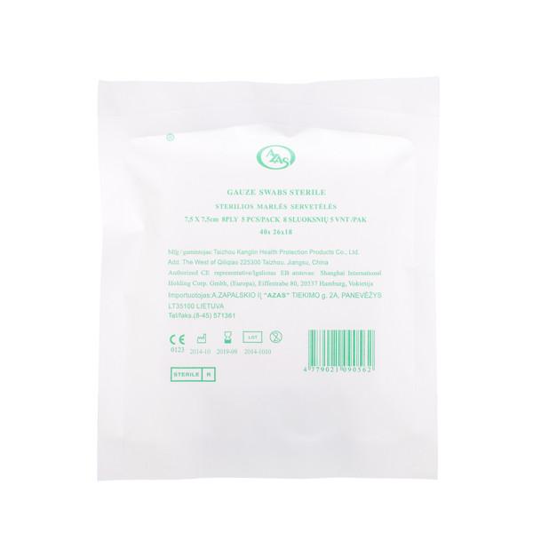 Sterilios marlės servetėlės, 7,5 x 7,5 cm, 8 sluoksnių, 5 vnt. paveikslėlis