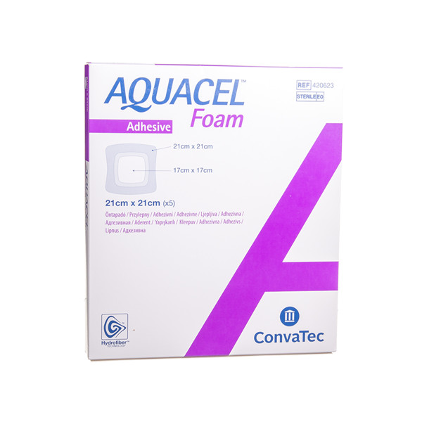 CONVATEC AQUACEL FOAM, lipnus tvarstis su silikonu, 21 x 21 cm, 5 vnt. paveikslėlis