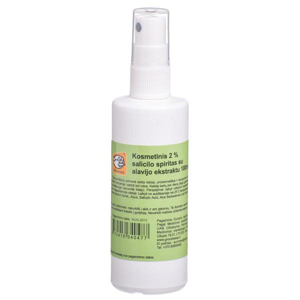 DR. SCHWARZWALD, salicilo rūgštis 2%, spiritinis odos tirpalas, kosmetinis su alijošiumi, purškiamas, 100 ml paveikslėlis