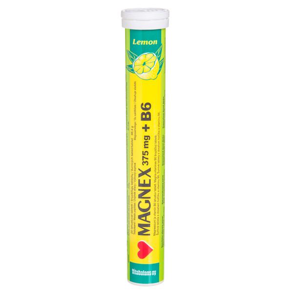 MAGNEX + B6, 375 mg, 20 šnypščiųjų tablečių paveikslėlis