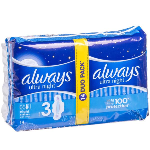 ALWAYS ULTRA NIGHT, higieniniai paketai, 14 vnt. paveikslėlis