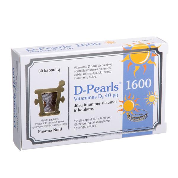 PHARMA NORD D-PEARLS 1600, 40 mcg, 80 kapsulių paveikslėlis