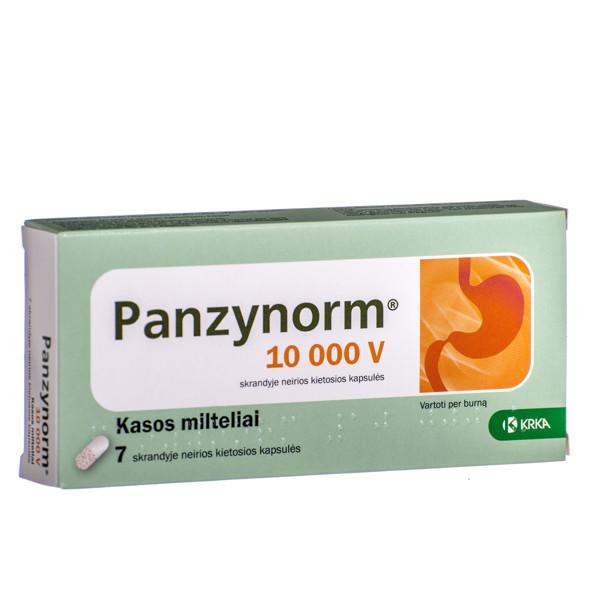 PANZYNORM, 10 000 V, skrandyje neirios kietosios kapsulės, N7  paveikslėlis