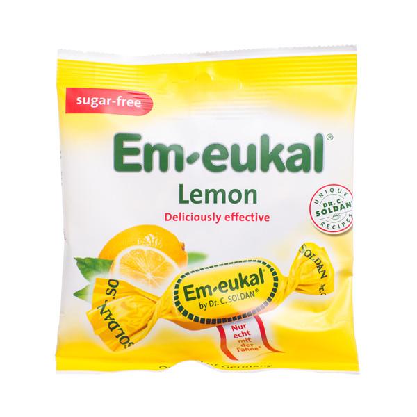 EM-EUKAL, pastilės, becukrės, citrinų skonio su saldikliais ir vitaminu C, 50 g  paveikslėlis