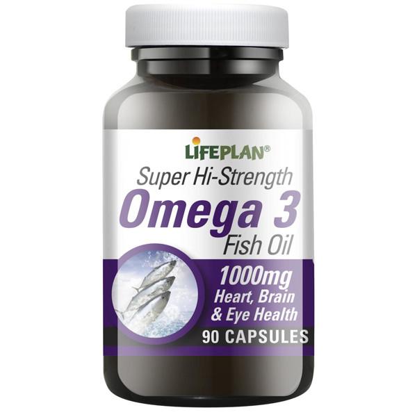 LIFEPLAN OMEGA-3 SUPER HI-STRENGHT, ypač didelės koncentracijos omega-3 žuvų taukai, 90 kapsulių paveikslėlis