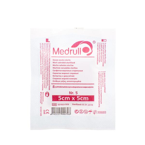 MEDRULL, marlinės sterilios servetėlės, 5 x 5 cm, 8 sluoksnių, 5 vnt. paveikslėlis