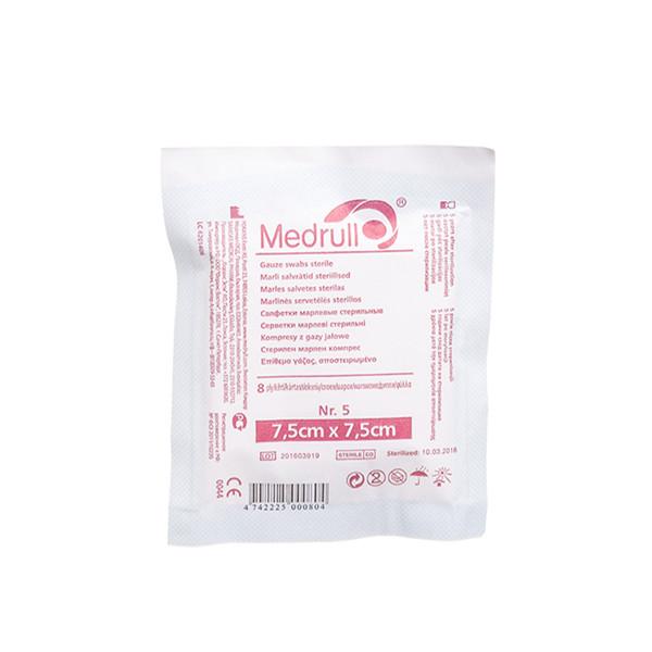MEDRULL, marlinės sterilios servetėlės, 7,5 x 7,5 cm, 8 sluoksnių, 5 vnt. paveikslėlis