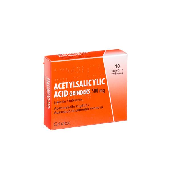 ACETYLSALICYLYC ACID GRINDEKS, 500 mg, tabletės, N10 paveikslėlis