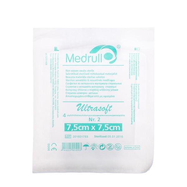 MEDRULL, neaustinės medžiagos sterilios servetėlės, 7,5 x 7,5 cm, 4 sluoksnių, 2 vnt. paveikslėlis