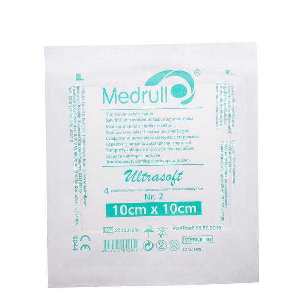 MEDRULL, neaustinės medžiagos sterilios servetėlės, 10 x 10 cm, 4 sluoksnių, 2 vnt. paveikslėlis