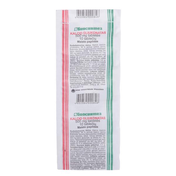 Kalcio gliukonatas, 500 mg, 10 tablečių paveikslėlis