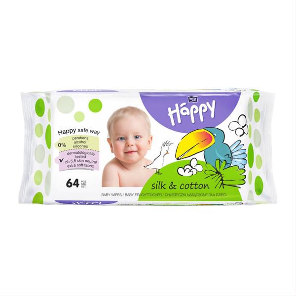 BELLA HAPPY SILK&COTTON, drėgnos servetėlės vaikams, 64 vnt. paveikslėlis