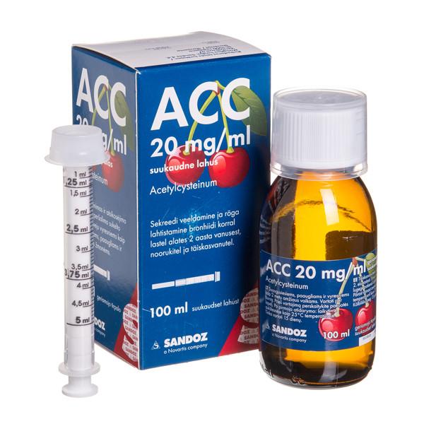 ACC, 20 mg/ml, geriamasis tirpalas, 100 ml paveikslėlis