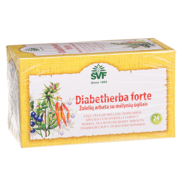 ŠVENČIONIŲ VAISTAŽOLĖS DIABETHERBA FORTE, žolelių arbata su mėlynių ūgliais, 1,5 g, 24 vnt.  paveikslėlis