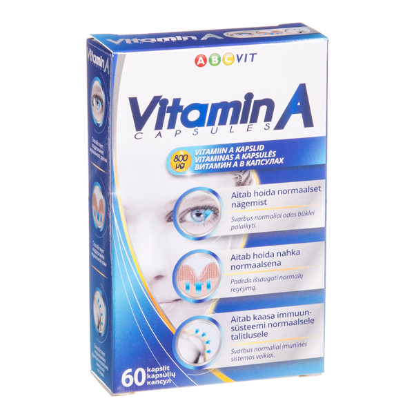 ABC VIT, vitaminas A, 60 kapsulių paveikslėlis