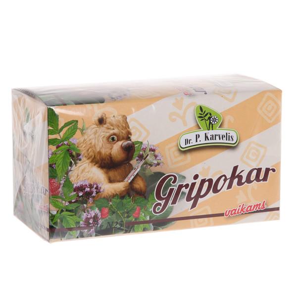 DR. P. KARVELIS GRIPOKAR VAIKAMS, žolelių arbata, 1 g, 25 vnt.  paveikslėlis