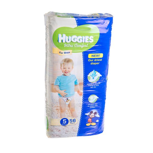 HUGGIES ULTRA COMFORT BOYS MEGA, sauskelnės berniukams, 5 dydis, 12 kg - 22 kg, 56 vnt. paveikslėlis