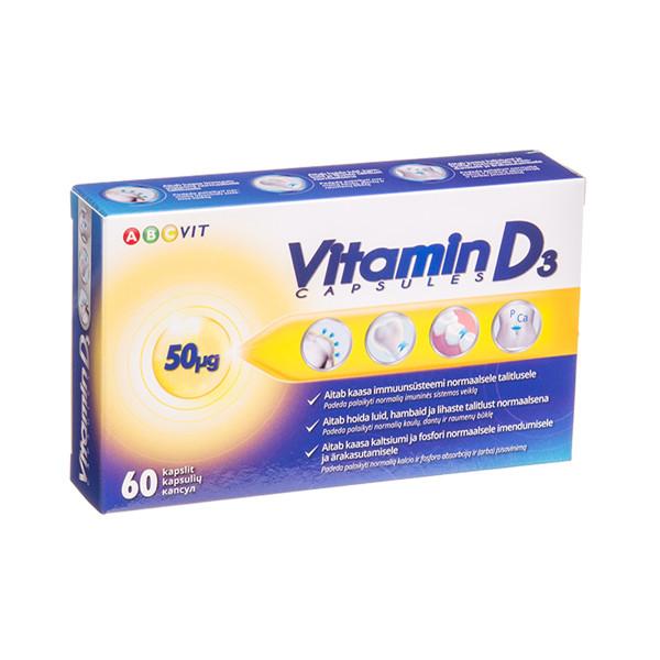 ABC VIT VITAMINAS D-3, 50 µg, 60 kapsulių paveikslėlis