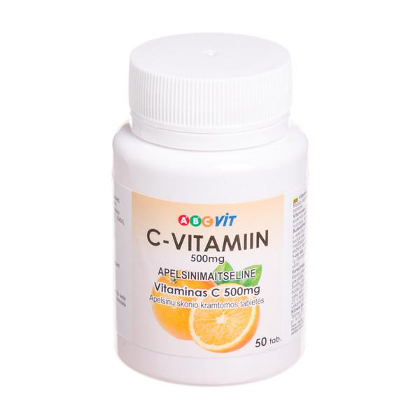 ABC VIT Vitaminas C, 500 mg, apelsinų skonio, 50 kramtomų tablečių paveikslėlis