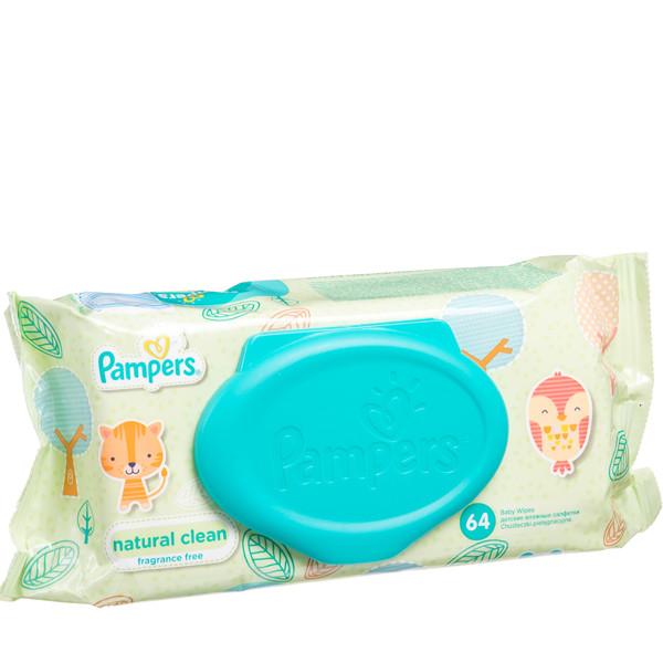 PAMPERS BABY WIPES NATURAL CLEAN, servetėlės, 64 vnt. paveikslėlis