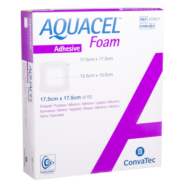 CONVATEC AQUACEL FOAM, lipnus tvarstis su silikonu, 17,5 x 17,5 cm, 10 vnt. paveikslėlis
