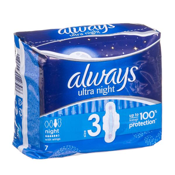 ALWAYS ULTRA NIGHT, higieniniai paketai, 7 vnt. paveikslėlis