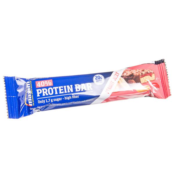 MAXIM, žemės riešutų ir braškių skonio batonėlis su 40 % baltymų, 50 g paveikslėlis