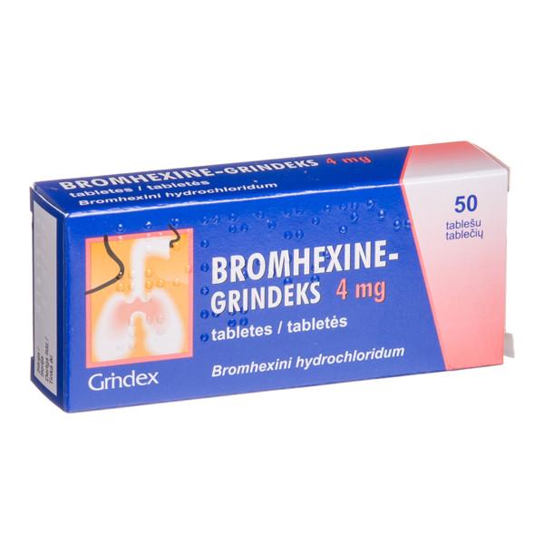 BROMHEXINE-GRINDEKS, 4 mg, tabletės, N50  paveikslėlis