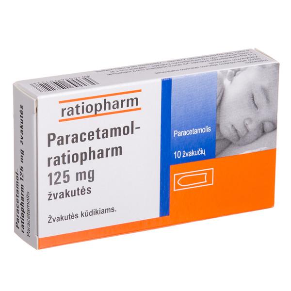 PARACETAMOL-RATIOPHARM, 125 mg, žvakutės, N10  paveikslėlis