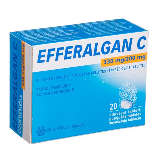 EFFERALGAN C, 330 mg/200 mg, šnypščiosios tabletės, N20  paveikslėlis