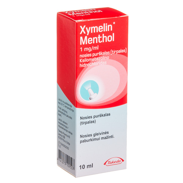 XYMELIN MENTHOL, 1 mg/ml, nosies purškalas (tirpalas), 10 ml  paveikslėlis