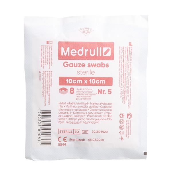 MEDRULL, marlinės sterilios servetėlės, 10 x 10 cm, 8 sluoknių, 5 vnt. paveikslėlis