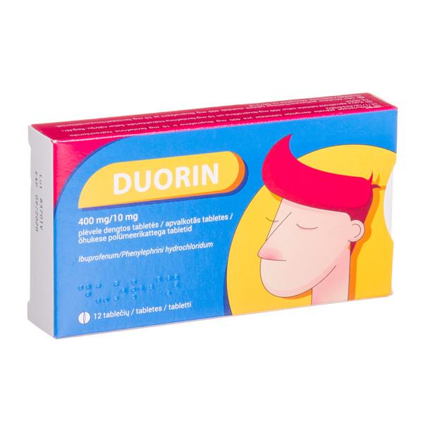 DUORIN, 400 mg/10 mg, plėvele dengtos tabletės, N12 paveikslėlis