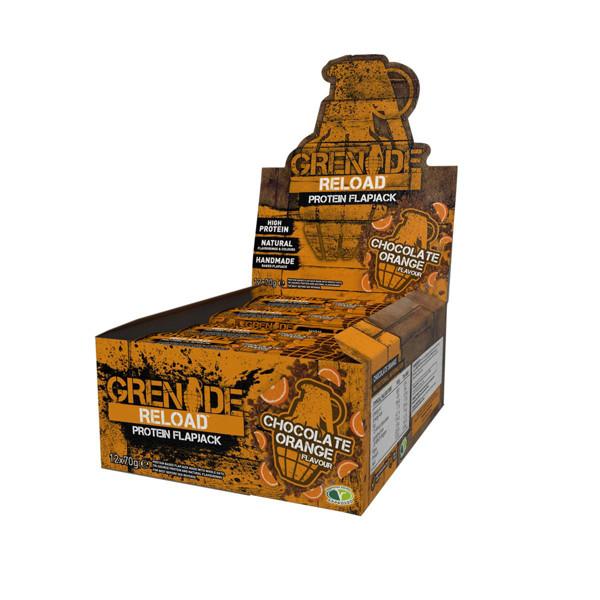 GRENADE RELOAD, avižiniai baltyminis batonėliai, šokolado su apelsinais skonio, 12x70 g paveikslėlis
