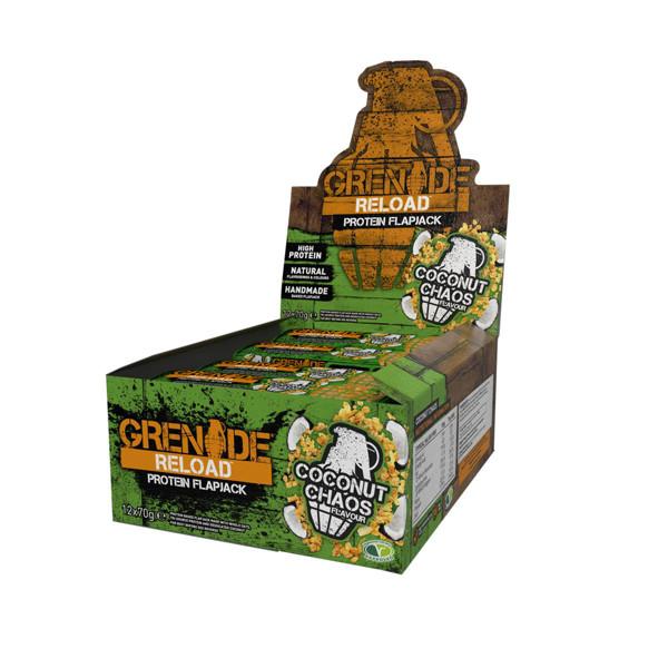 GRENADE RELOAD, avižiniai baltyminiai batonėliai, kokosų skonio, 12 x 70 g paveikslėlis