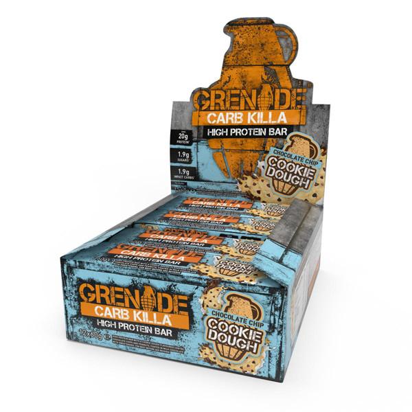 GRENADE CARB KILLA BAR, baltyminiai batonėliai,  sausainių su šokolado gabaliukais skonio, 12 x 60 g paveikslėlis