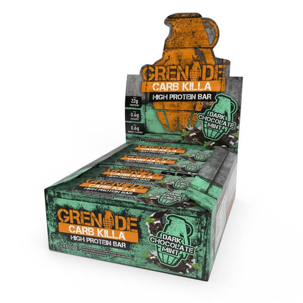 GRENADE CARB KILLA BAR, baltyminiai batonėliai, juodo, mėtinio šokolado skonio, 12 x 60 g paveikslėlis