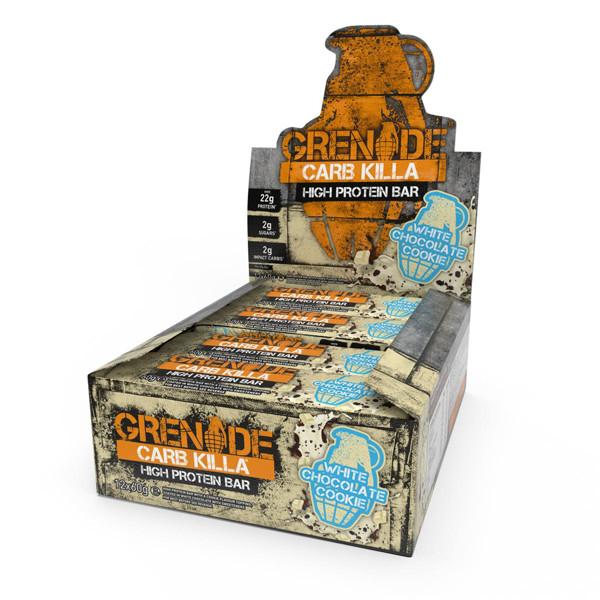 GRENADE CARB KILLA BAR, baltyminiai batonėliai, balto šokolado sausainių skonio, 12 x 60 g paveikslėlis