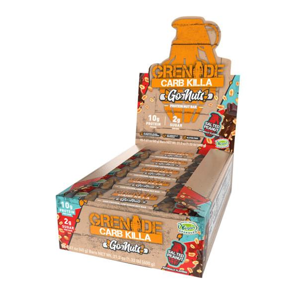 GRENADE CARB KILLA GO NUTS, baltyminis batonėlis, su sūdytais riešutais, 15 x 40 g paveikslėlis