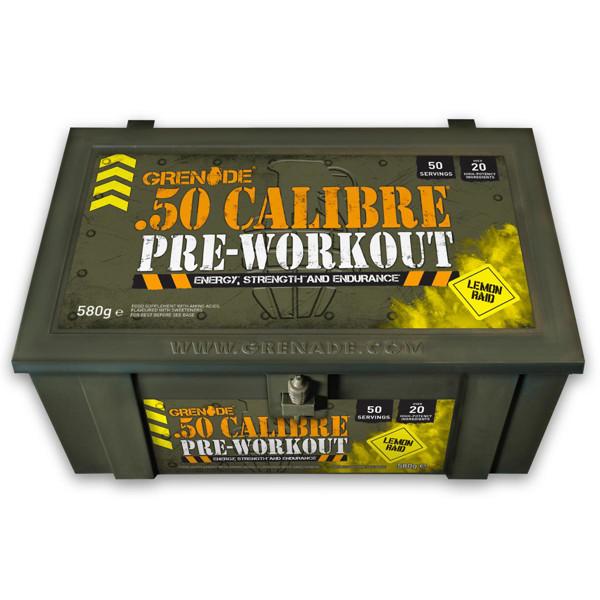 GRENADE 50 CALIBRE, prieštreniruotinis stimuliantas, citrinų skonio, 50 porcijų, 580 g paveikslėlis