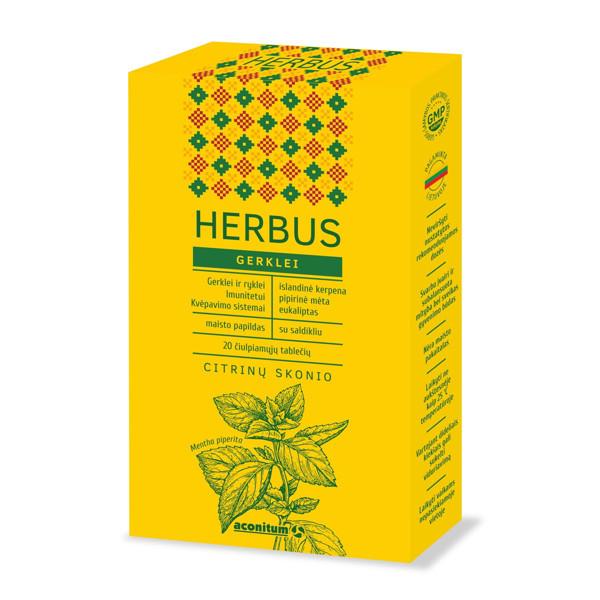 HERBUS, gerklei, citrinų skonio, 20 čiulpiamųjų tablečių paveikslėlis