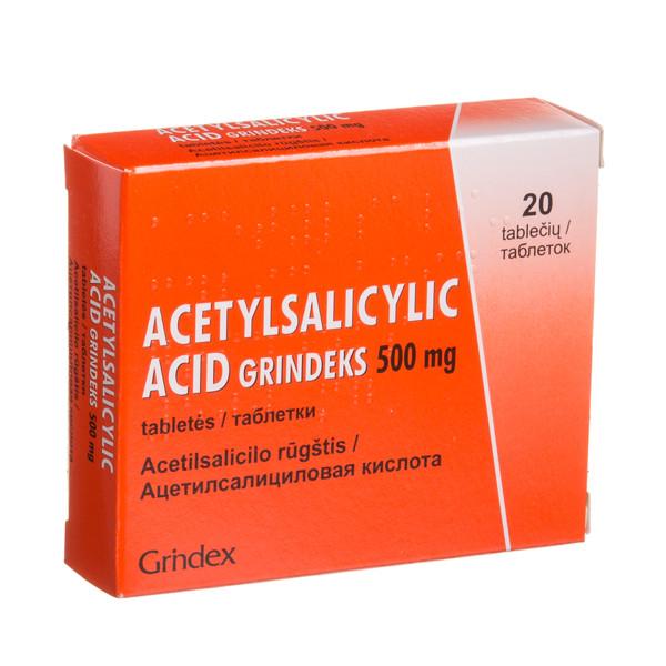 ACETYLSALICYLYC ACID GRINDEKS, 500 mg, tabletės, N20 paveikslėlis