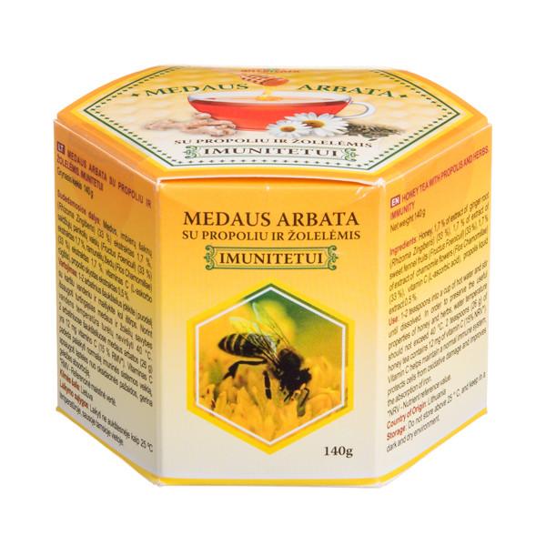 MEDICATA IMUNITETUI, medaus arbata su propoliu ir žolelėmis, 140 g paveikslėlis